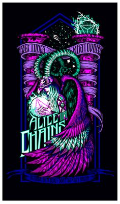 Alice In Chains - Deftones - Mastodon ☮~ღ~*~*✿⊱╮Hippie Style, Free Spirit, Boho, - レ o √ 乇 ! Alice In Chains, Stoner Rock, Music Artwork, Art Music, Hippie Style, Rock Band Posters, Concert Posters, Music Posters, Tour Posters