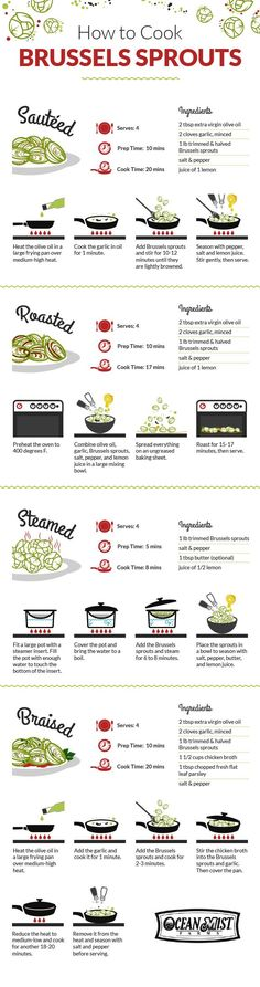 """Love Brussels sprouts? Give these cooking tips a try: A great infographic on """"How to Cook Brussels Sprouts"""""""