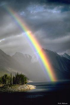 Rainbow over Medicine Lake - Jasper National Park, Alberta