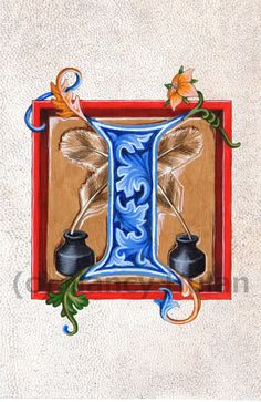 Alphabet Letter I Medieval Illuminated Letter I by ArteOfTheBooke, $10.00