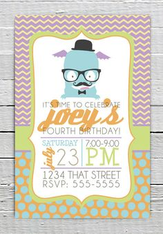 Coupon Code - REPIN10 for 10% off Hipster Blue Monster Yellow Chevron Custom Birthday Party Printable Invitation Baby Boy Shower Invite Boy Birthday Supplies Blue polka dot $10.99