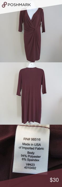 b508318870aaa4 Coldwater Creek burgundy drape wrap dress size P12 Manufacturer  Coldwater  Creek Style  drape wrap