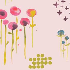 Large scale watercolor florals adorn a pale pink ground, punctuated by metallic gold accents.Organic cotton lawn by Monaluna