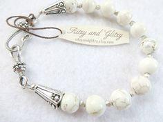 White Turquoise Bracelet Turquoise Silver Bracelet Spiritual Bracelet Fine Jewelry Summer Artisan Jewelry Silver Bead Caps Statement