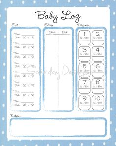 Printable Daily Log for Baby, blue dots - feeding, diaper, nap chart - INSTANT…
