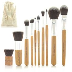 10 Piece Makeup Brush Cosmetic Set Kit Make Up Brushes Tools with Pouch (Bamboo Handle) -- Be sure to check out this helpful article. #MakeupBrushHolder