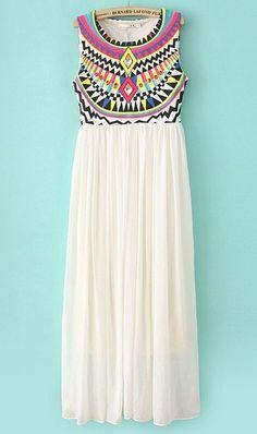 Hermoso vestido maxi con estampados geométricos.<3