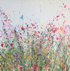 Inspired by sun drenched meadows full of summer's songs, wild butterflies and a kaleidoscope of colour. Butterflies Songs is an original artwork by UK Flower Artist Yvonne Coomber using oil paint on a canvas surface. #FlowerArt