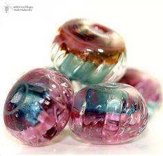 Glass lampwork beads Island Girl Venetian Twist by radiantmind,