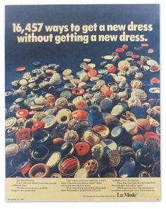 "ButtonArtMuseum.com - ""Put new buttons on a dress and you get a new dress to put on."" La Mode Magazine Ad - September 27, 1970"