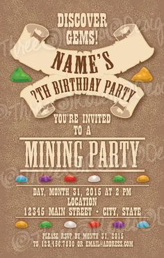 3c4583c7690712e735e9ef9c80f17d16 geology birthday party invitation our 4 favorite printables,Geology Birthday Party Invitations