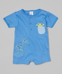 Look at this #zulilyfind! Blue Frog Romper by Little Beginnings #zulilyfinds