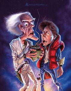 Christopher Lloyd and Michael J. Fox in Back to the Future illustrated by Anthony Geoffroy
