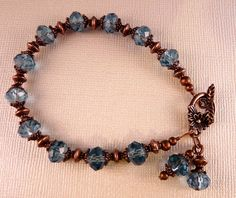Crystal Bracelet Copper Bracelet Blue Beaded Bracelet Crystal Jewelry Copper Jewelry Blue Jewelry. $18.00, via Etsy.