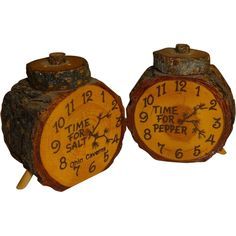 Ohio Caverns Souvenir Wood Clocks Salt and Pepper Shakers from bearsvintagecollectibles on Ruby Lane