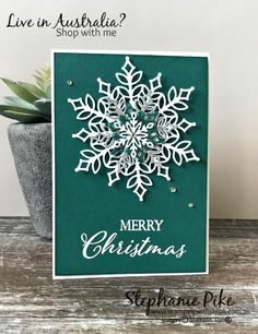 Stamping with Steph – Stephanie Pike – Independent Stampin' Up! Christmas Cards 2018, Stamped Christmas Cards, Homemade Christmas Cards, Xmas Cards, Homemade Cards, Holiday Cards, Diy Christmas Snowflakes, Snowflake Cards, Noel Christmas