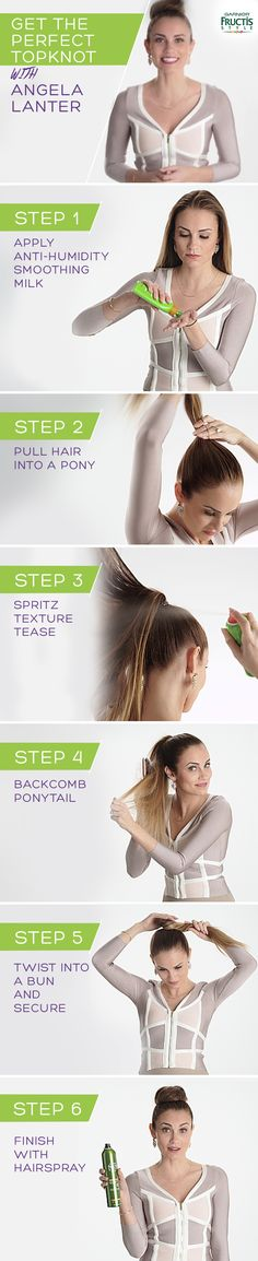 6 simple steps to the perfect topknot!  Vlogger Angela Lanter uses Smoothing Milk and Sleek & Shine Hairspray to make sure every flyaway and frizz is gone!