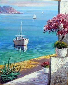 (notitle) - My dream world - Kunst Greece Painting, Boat Painting, Acrylic Painting Canvas, Canvas Wall Art, Artist Painting, Beautiful Paintings, Beautiful Landscapes, Landscape Art, Landscape Paintings