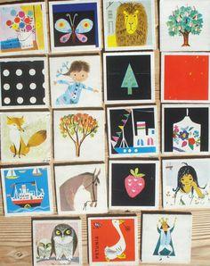 Vintage memory kaarten, 19 stuks, 1959, 5,5 x 5,5 cm, Ravensburger, karton, hobbymateriaal  [c] by LabelsAndMore on Etsy