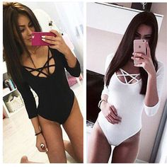 d5c41f9a2534 Hot Price Takerlama Hot Sexy Women Sleeve Bodysuit Bodycon Lady Leotard  Body Tops Jumpsuit T-shirt Clubwear V Neck Hollow out Bodysuit