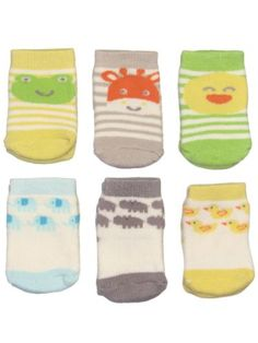 6pk of Terry Character Face Baby Bootie Socks by Carters ...