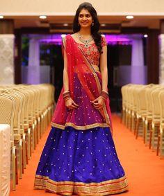 Bride Divya shines bright on her big day Half Saree Lehenga, Lehenga Gown, Bridal Lehenga Choli, Saree Dress, Dress Up, Blue Lehenga, Lehenga Style, Half Saree Designs, Lehenga Designs