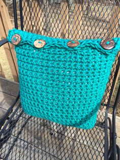 Crocheted Buttoned Pillow Cover Handmade in by crochetthisforme