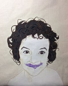 Leo with yogurt: hand embroidered, applique, colored pencil (shading only)