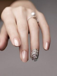 Nude nails and a little nail bling. Simple and elegant.