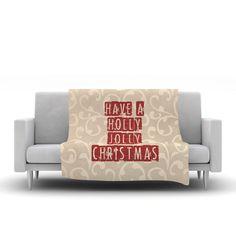 "Sylvia Cook ""Have A Holly Jolly Christmas"" Holiday Fleece Throw Blanket"