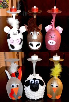 Farm Animal Wine Glass Candle Holders – The Keeper of the Cheerios (use plastic wine glasses and fake candles for safety) Diy Wine Glasses, Decorated Wine Glasses, Painted Wine Glasses, Wine Craft, Glass Bottle Crafts, Christmas Wine, Christmas Crafts, Christmas Presents, Wine Glass Candle Holder