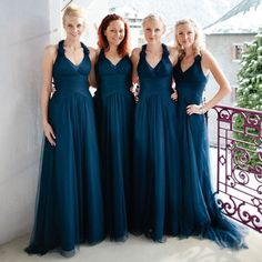 Halter Dark Teal Tulle Elegant Formal On Sale Long Bridesmaid Dresses, WG373 The dress is fully lined, 4 bones in the bodice, chest pad in the bust, lace up back or zipper back are all available. This