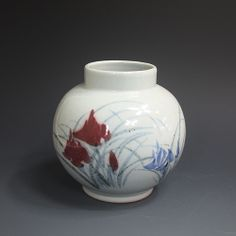 백자진사 계손문호 白磁辰砂 溪蓀紋壺 (white Jinsa porcelain - Iris sanguinea)