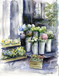 """Купить Акварель """"Весна в Лондоне"""" - серый, картина акварелью, акварельная живопись, картина в подарок"""