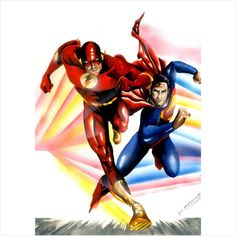 DIANGELIS- THE FLASH AND SUPER MAN Drawing Pinup Original Art Mixed Technique