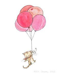 Children's Art  Kitten Balloons  Archival by trafalgarssquare, $10.00