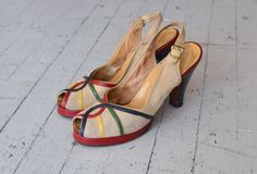 1940s shoes    40s Primary Colors platforms