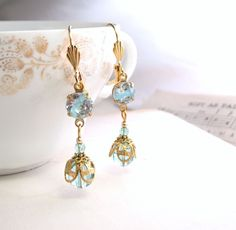 Baby Blue earrings with vintage aqua pastel art glass