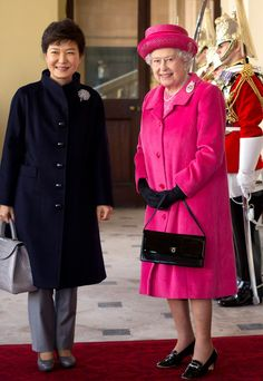 Queen Elizabeth II and President of South Korea, Park Geun-Hye (L) pose together outside the Grand Entrance on arrival by state carriage at Buckingham Palace on 05.11.13 in London, England.