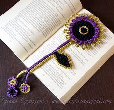 Marca páginas flor de ganchillo   -   Flower crochet bookmark