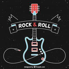 Design Plat, Rock Design, Rock And Roll Bands, Rock N Roll, Festa Rock Roll, Tumblr Neon, Art Festa, Rock Vintage, Guitar Posters