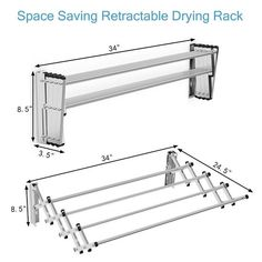 Shop for Costway Stainless Wall Mounted Expandable Clothes Drying Towel Rack. Get free delivery On EVERYTHING* Overstock - Your Online Housewares Shop! Laundry Hanger, Drying Rack Laundry, Clothes Drying Racks, Laundry Storage, Kitchen Storage, Wall Mounted Drying Rack, Pool Shed, Stainless Steel Rod, Towel Hanger