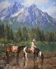 """Sawtooth Shadows"" by Jason Rich (Cowboy Artist) Westerns, West Art, Cowboys And Indians, Real Cowboys, Le Far West, Country Art, Equine Art, Mountain Man, Native American Art"