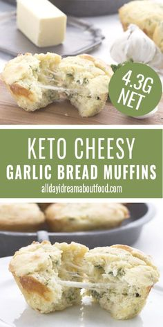 Keto Garlic Bread Muffins Gooey cheesy garlic bread muffins – these delicious low carb muffins taste just like your favorite garlic bread. A wonderful keto bread recipe that's great for breakfast, lunch, or dinner. Healthy Low Carb Recipes, Low Carb Desserts, Ketogenic Recipes, Ketogenic Diet, Diet Desserts, Diet Drinks, Healthy Breakfasts, Vegan Recipes, Comida Keto