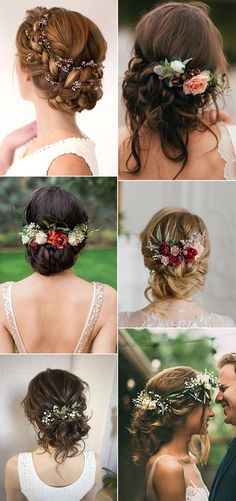 updos fall wedding hairstyles with flowers - Brautfrisuren, Haarschmuck, Schleier - Mariage Fall Wedding Hairstyles, Bride Hairstyles, Gorgeous Hairstyles, Classic Hairstyles, Elegant Hairstyles, Curly Hairstyle, Easy Hairstyles, Fall Wedding Flowers, Fall Wedding Colors