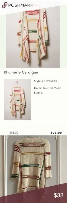 Anthropologie Rhumerie Cardigan ⭐️HP⭐️ This cardi was a host pick (see above). Someone bought it and then asked me to cancel her bundle order that night. Posh doesn't take the sale banner off so I have to relist. Pls see pic with original description for detailed info. I lost all my likes do to the cancellation so pls share if you like! 😊 Anthropologie Sweaters Cardigans