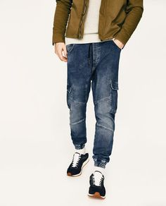 Image 2 of SOFT DENIM CARGO TROUSERS from Zara Track Pants Mens, Latest Outfits, Cargo Pants, Skinny Jeans, Men's Jeans, Trendy Fashion, Latest Trends, Trousers, Denim