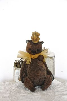 "RESERVED  NEW Artist Bear  "" Chocolate miracle ""  29cm (not standing). sit 25 cm animals-stuffed- bear-interior toy-personalized teddy bear"