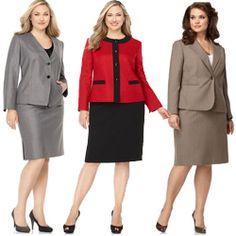 Le Suit Plus Size Suit Contrast-Color Jacket &amp Pants - Plus Size ...