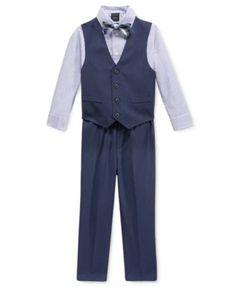 Tip Top Kids Big Boys Black Three Button Satin Vest Tie 2 Pc Set 8-16